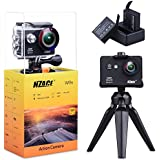 NZACE Action Camera 1080P, Ultra HD Wifi Waterproof 170 Degree Wide Angle 12 MP DV Camcorder Sports Camera with 2Pcs 900mAh Batteries 17 Mounting Kits(Black)