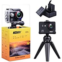 Action Camera 1080P, NZACE Ultra HD Wifi Waterproof 170 Degree Wide Angle 12 MP DV Camcorder Sports Camera with 2Pcs 900mAh Batteries 17 Mounting Kits(Black)