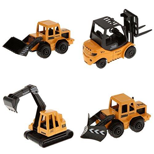 MagiDeal 4 x Juguete de Vehículos de Construcción con Carretilla Elevadora, Pala de Tractor, Excavadora, Quitanieves,...