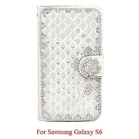 xhorizon ZA5 White Transparent Shining Bling Glitter Charming Diamonds Rhinestone Floral Pendant Lichee Pattern Leather Wallet Magnetic Closure Stand Function Phone Case Cover For iPhone 4/4S/5/5S/6/6Plus Samsung S3/S3mini/S4/S4mini/S5/S6/S6 Edge Note 2/3/4 LG G2 G3 Sony Xperia Z3 HTC One M9 with Credit/Bussiness/ID Card Holder & Cash Holder & xhorizon (Lg G2 Phone Case Magnetic)