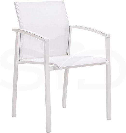2 Sillas con Brazos Manacor para jardín y Exterior. Aluminio 1ª Calidad Blanco y Textilene Batyline Blanco: Amazon.es: Jardín
