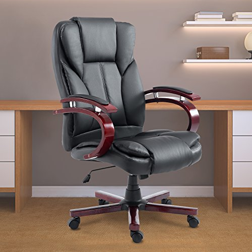 Acepro Office Chair Desk Chair Computer Chair High Back Leather Office Desk Chairs Adjustable Black Executive Chair