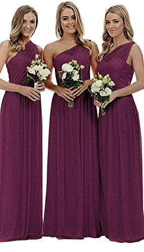 - liangjinsmkj Women's One Shoulder Long Bridesmaid Dresses Asymmetric Chiffon Prom Evening Dress Plum US2