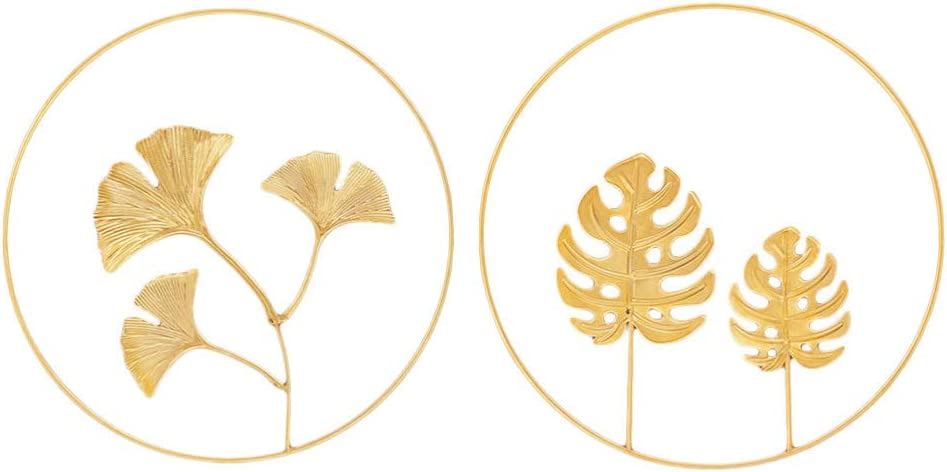 BESPORTBLE 2pcs Gingko Leaf Sculptures Iron Wall Sculpture Desktop Ornaments Gold Gingko Leaf Table Art for Living Room Home Table Centerpiece Decoration