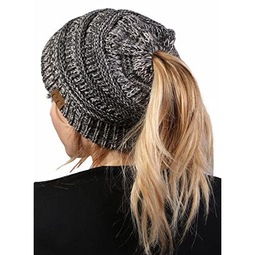 467db7cbb82 Funky Junque s BeanieTail Womens Ponytail Messy Bun Beanie Multi Color  Ribbed Hat Cap