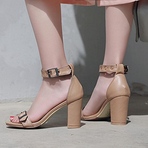 Strap 1 TAOFFEN Ankle Dress Women Sandals Apricot fqq6AcPSR