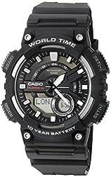 Casio Men's 'Heavy Duty' Quartz Resin Automatic Watch, Color:Black (Model: AEQ110W-1AV)