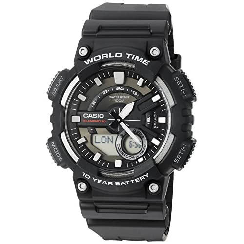 Casio Men's Sports Quartz Watch with Resin Strap, Black, 28.6 (Model: AEQ110W-1AV)