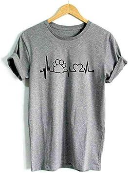XIAOBAOZITXU Lifeline Camiseta De Las Mujeres Camisa Casual para Unisex Lady Girl Hipster Tops Gris: Amazon.es: Deportes y aire libre