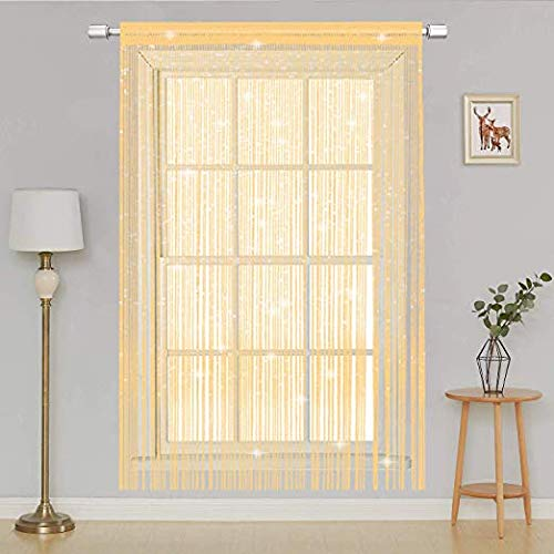AIZESI 39x 78.5 String Door Curtain Fly Bug Screen String for Doorways Divider or Window Curtain Panel 39x78.5(Champagne)