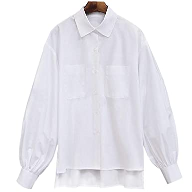 CHENYAJUAN Camisetas Blancas Mangas Largas Mangas Largas Ventilador Han Linternas Camisas Blusas Códigos De Gran Tamaño: Amazon.es: Ropa y accesorios