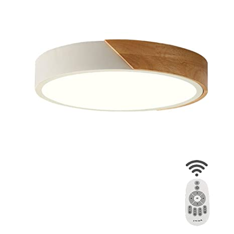 Sheen Wood Round Led 24w Ceiling Light Fixture, Flush Mount ...
