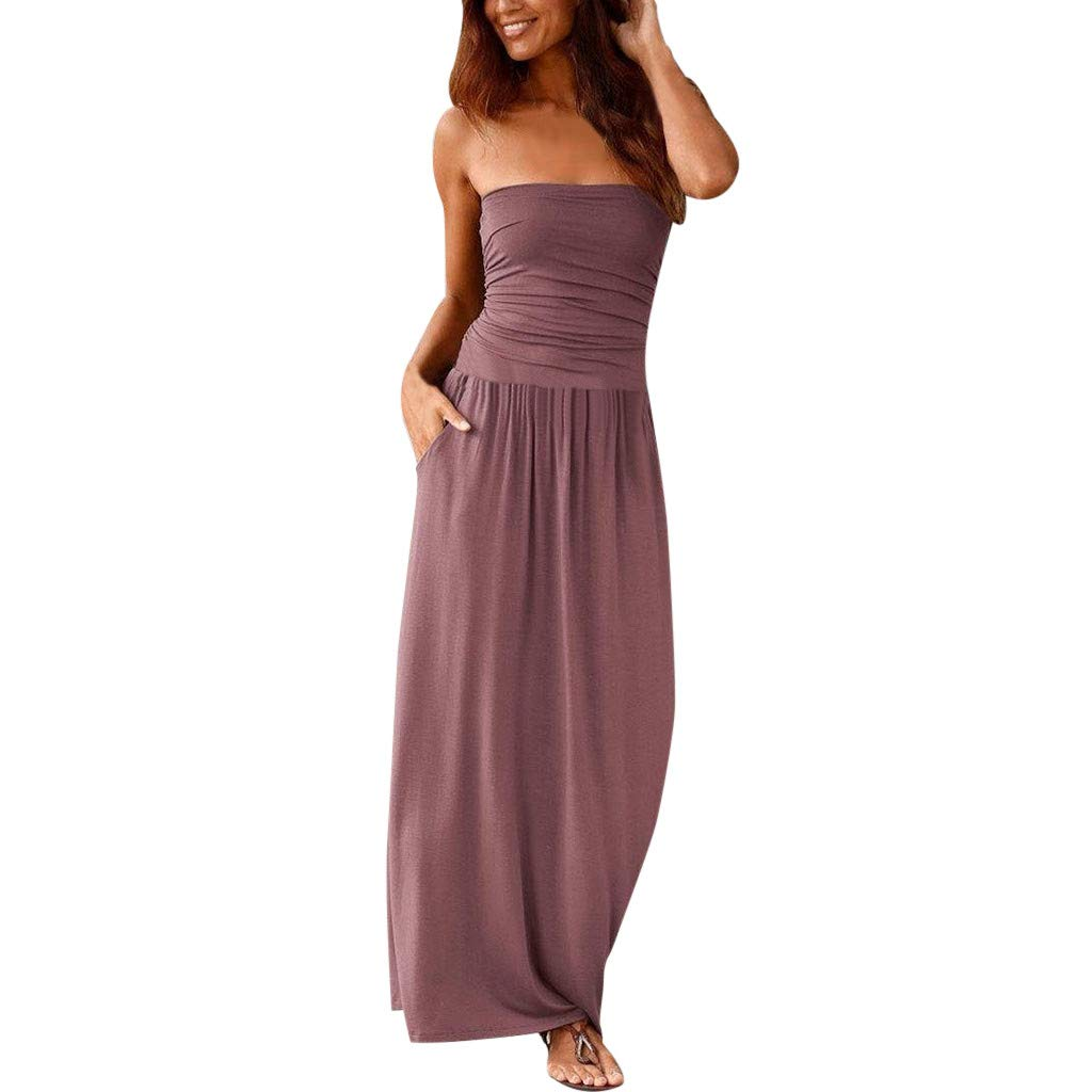 AmyogKog Womens Strapless Maxi Dress Tube Top Long Skirt Sundress Cover Up with Pockets