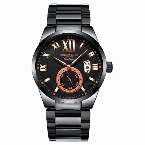 ANTHONY JAMES LONDON VINTAGE Men's Designer Business Casual Dress Wrist Watch With Quartz Black Gold Dial And White Calendar Stainless Steel Links Strap Luxury Christmas Gifts For Men Sale