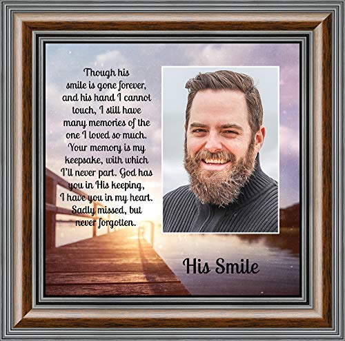 Personally Yours His Smile, in Memory of a Loved one, Loving Memory Gift, 10x10 6361W (Smile Picture Frame)