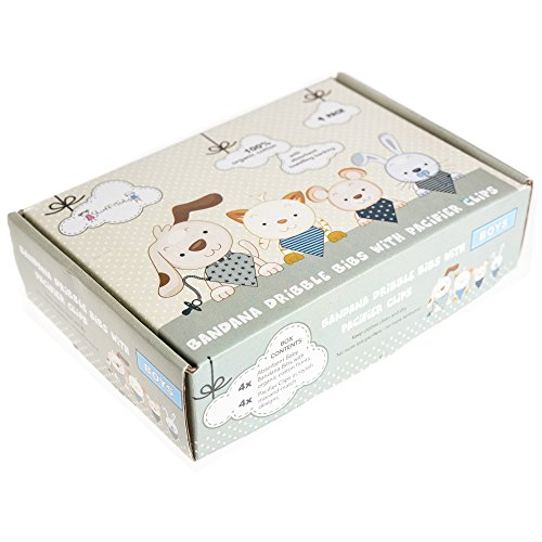 Stuff4Tots Bandana Bibs & Pacifier Clips Gift Box. Organic Cotton (4 Pack Boys)