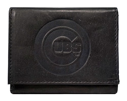 Rico Chicago Cubs MLB Embossed Logo Black Leather Trifold Wallet - Chicago Cubs Black Leather