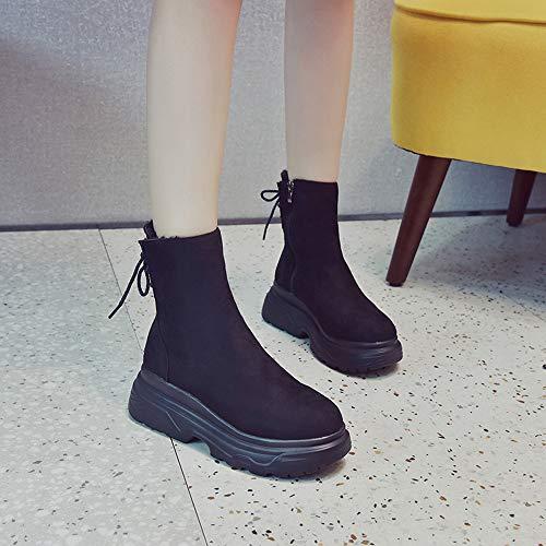 Binggong Sans Noir Aide Talon Chaussures Bout De Dames Rond forme Femme Boots À Épais Noël Plate Chaussures Bas Bottes Lacet HqgE7wwZ