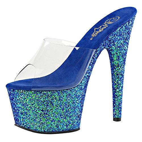Heels-Perfect Plateau Pantolette, Damen, Blau (Blau) Blau (Blau)
