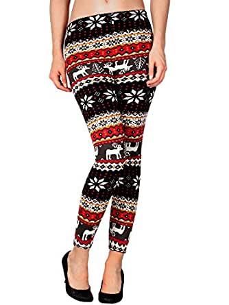Junior' Winter Warm Tights Pants Knitted Leggings Snowflake Reindeer Print