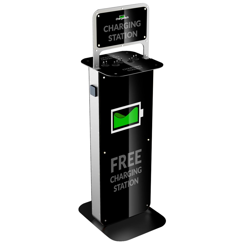 ChargeTech - Power Outelt Cell Phone Charging Station w/ Universal Charging Tips Included - Community Charge Station for all devices: IPhone, Android, Laptop - For Businesses, Events (Model: S12)
