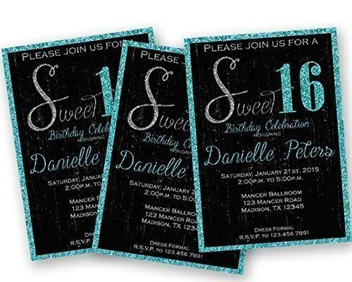 Black-Turquoise-Glitter-Sweet-16-Invitations-Grunge-Trendy