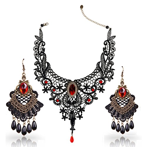 Youniker Choker Necklace for Women Gothic Black Lace Necklace Earrings Sets for Halloween Costume Party Punk Vintage Lolita Choker Pendant (Renaissance Necklace And Earring Set)