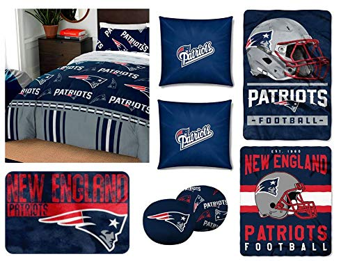 The Northwest Company NFL New England Patriots Twin Bedding Set - Includes 1 Twin Comforter, 1 Twin Flat Sheet, 1 Twin Fitted Sheet, 2 Pillowcases, 1 Blanket, 1 Throw, 1 Rug, and 4 Decorative Pillows (Blanket England Patriots New Fleece)