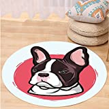 VROSELV Custom carpetAnimal Cute French Bulldog Portrait Hipster Purebred Creature Pet Illustration for Bedroom Living Room Dorm Baby Blue Red Brown Round 79 inches