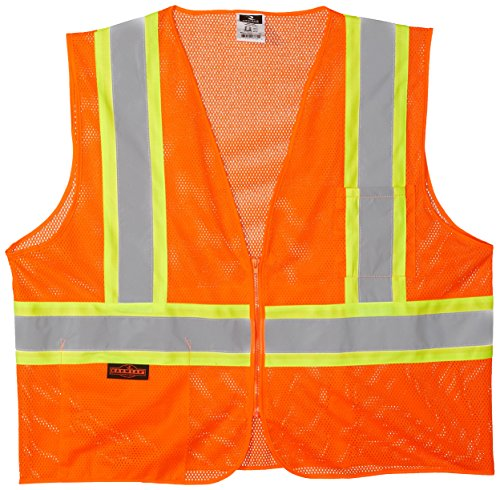 (Radians SV22-2ZOM-XL Polyester Mesh Economy Class 2 High Visibility Zipper Closure Vest with Two-Tone Trim, X-Large, Orange )