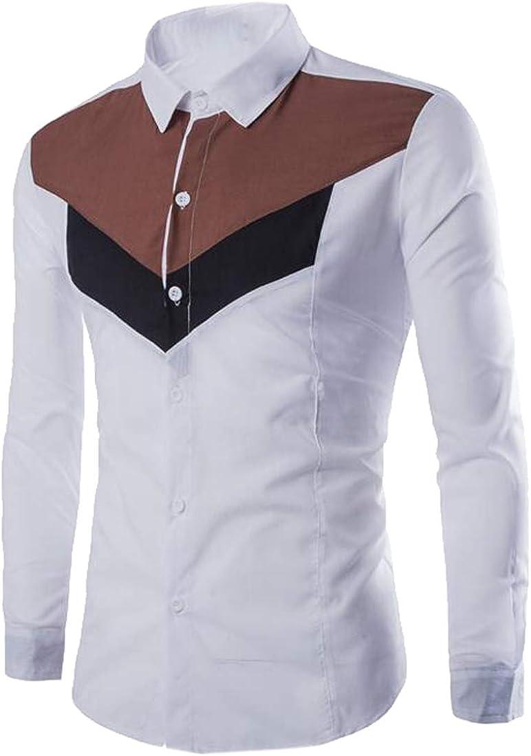 Jofemuho Men Color Block Long Sleeve Regular Fit Button Up Casual Dress Work Shirt