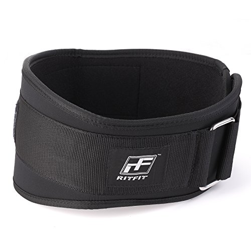 RitFit Weight Lifting Belt - Great for Squats, Crossfit, Lunges, Deadlift, Thrusters - Men and Women - 6 Inch Black- Firm & Comfortable Lumbar Support with Back Injury Protection (S(22-29''))