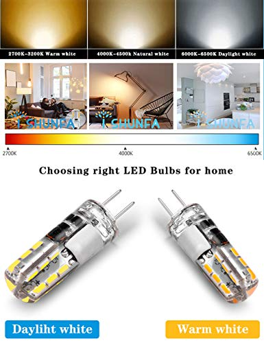 G4 LED Bulb 1.5W AC/DC 12V Bi-Pin Base Light Lamp Daylight White 6000K Equivalent to 10W 20W T3 Halogen Led 24x3014 SMD Non-dimmable 360°Beam Angle (10 Pack)