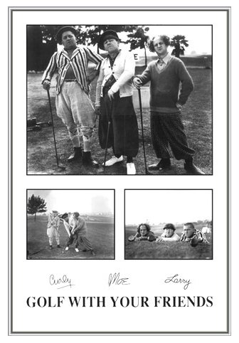 Three Stooges Golf with Your Friends Framed Poster - Quality Silver Metal Frame 24 x 36