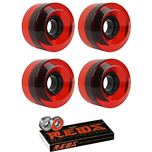 TGM Skateboards Longboard Cruiser Wheels 60mm x 41mm 78A 186C Red Clear Bones Reds Bearings