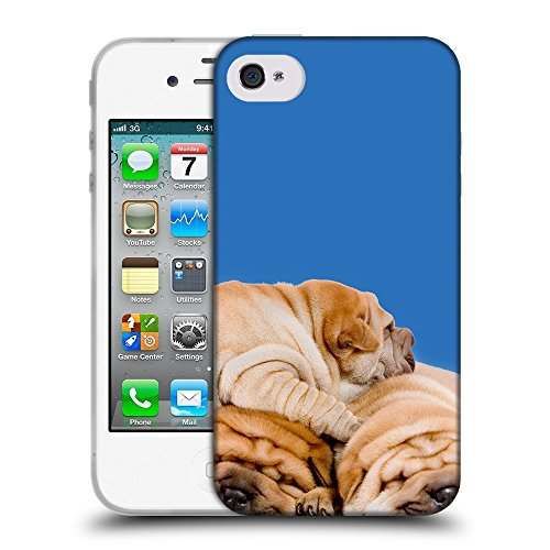 GoGoMobile Coque de Protection TPU Silicone Case pour // Q05540608 3 shar pei Azzurro // Apple iPhone 4 4S 4G