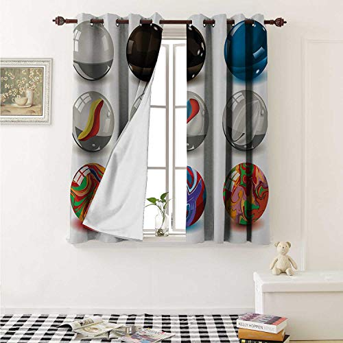 Flyerer Pearls Customized Curtains Collection of Different Marbles with Glass and Porcelain Materials Like Bubbles Artwork Curtains for Kitchen Windows W63 x L45 Inch Multi