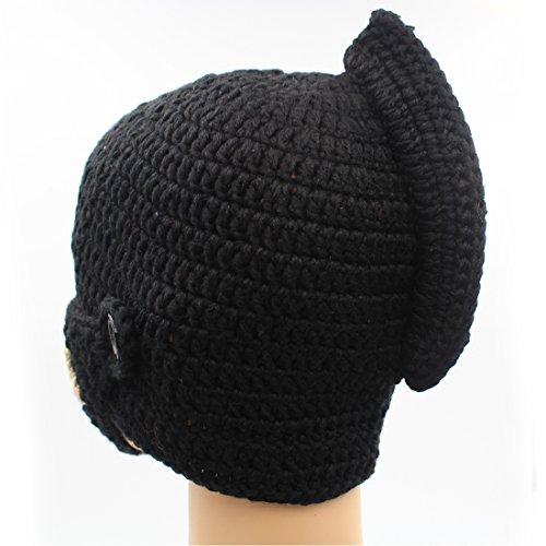 195284bbc85 GIANCOMICS Roman Cosplay Knight Helmet Visor Knit Beanie Hat Winter Mask  Cap Black