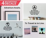 Art of Wanderlust | Set of 4 Black Vinyl Wall Decal | Travel and Inspirational Quotes Wall Stickers