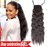 AMELI Kinky Straight Synthetic Ponytail Clip in Hair Extensions One Piece Soft Silky for Women Fashion and Beauty (24inch, 1B#)