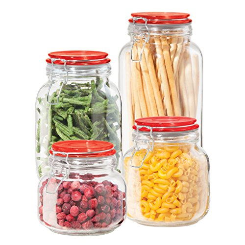 Oggi 4 Piece Airtight Glass Canister Set with Clamp Lids and Silicone Gaskets, ()