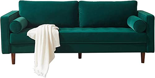 Romatlink Loveseat Sofa Modern Upholstered Couch for Living Room 2-Seater Arm Design Wrapped in Polyester Velvet Upholstery for a Textured Appearance- Green