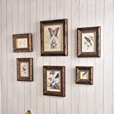 ZGP Home@Wall photo frame Creative Retro Photo Wall-5-6 Frame Wall Suit, Solid Wood Frame Wall Combination Living Room Creative Photo Wall (Color : 6)