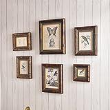 ZGP Home@Wall photo frame Creative Retro Photo Wall-5-6 Frame Wall Suit, Solid Wood Frame Wall Combination Living Room Creative Photo Wall (Color : 6)