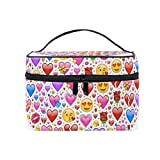 Cosmetic Case Bag Heart Love Roses Emoticons Portable Travel Makeup Bag Toiletry Organizer