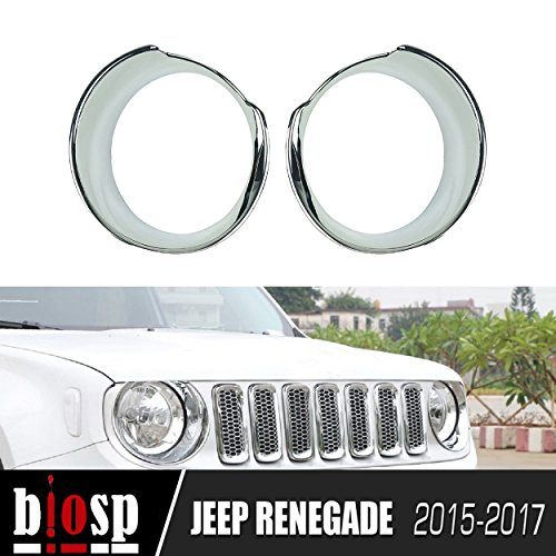 BIOSP Chorme Plated ABS Headlight Bezels Cover for Jeep Renegade - Guide Sunglasses 2015