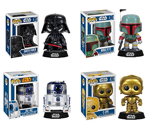 - Funko Star Wars POP! Vinyl Collectors Set: Darth Vader, Boba Fett, R2-D2, C-3PO Action Figure