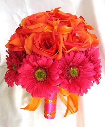 Amazon wedding bouquet bridal silk flowers orange pink fuchsia wedding bouquet bridal silk flowers orange pink fuchsia daisy 17 piece package artificial flower arrangements centerpieces mightylinksfo