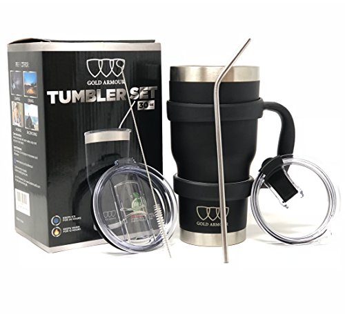 Black Handle Bundle - 30 oz Tumbler - Stainless Steel 6-Piece Tumbler Set (7 COLORS: BLACK, BLUE, PINK, SEAFOAM, SS, WHITE) Ultra-Tough Double Vacuum Insulated Stainless Steel Travel Tumbler Bundle (Black, 30oz)