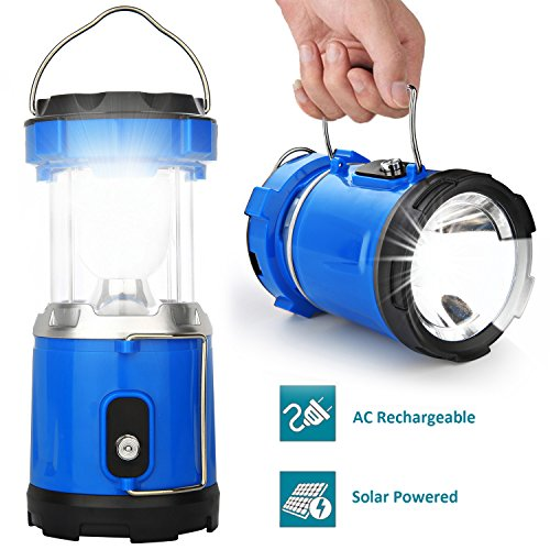 Camping Lantern Light, IRuiYinGo Rechargeable Lamp Solar LED Flashlight with Hanging Blue Color, Great light for Camping/ Hiking/ Backpacking...Outdoor Activities